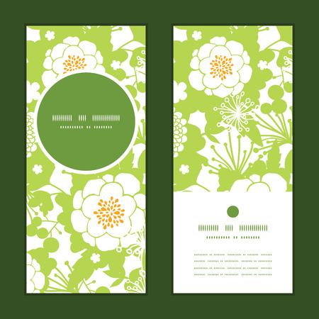 vertical garden: Vector green and golden garden silhouettes vertical round frame pattern invitation greeting cards set
