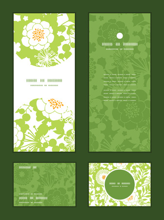 thank you cards: Vector green and golden garden silhouettes vertical frame pattern invitation greeting, RSVP and thank you cards set