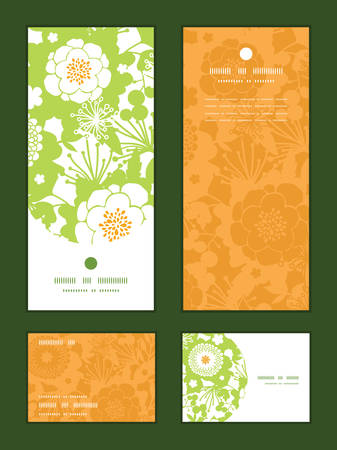 vertical garden: Vector green and golden garden silhouettes vertical frame pattern invitation greeting, RSVP and thank you cards set