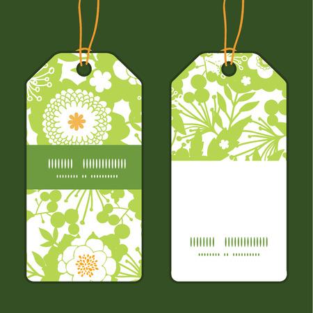vertical garden: Vector green and golden garden silhouettes vertical stripe frame pattern tags set