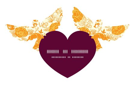 Vector golden art flowers birds holding heart silhouette frame pattern invitation greeting card template Çizim