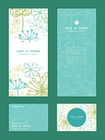 rsvp: Vector mysterious green garden vertical frame pattern invitation greeting, RSVP and thank you cards set Illustration