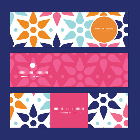 graphic display cards: Vector abstract colorful stars horizontal banners set pattern background Illustration