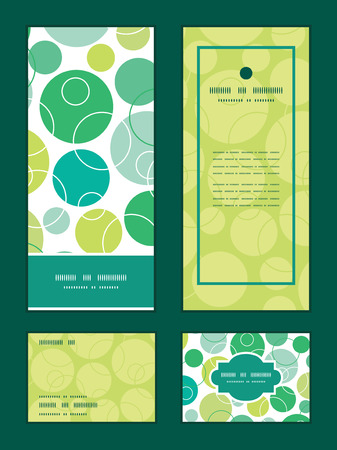 Vector abstract green circles vertical frame pattern invitation greeting, RSVP and thank you cards set