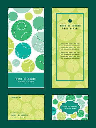 Vecteur cercles verts abstraits cadre vertical invitation motif salutation, RSVP et merci Cards Set Banque d'images - 35701091