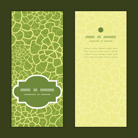 Vector abstract green natural texture vertical frame pattern invitation greeting cards set