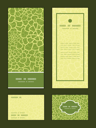 rsvp: Vector abstract green natural texture vertical frame pattern invitation greeting, RSVP and thank you cards set Illustration