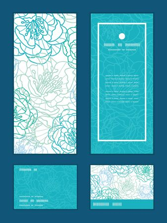 rsvp: Vector blue line art flowers vertical frame pattern invitation greeting, RSVP and thank you cards set