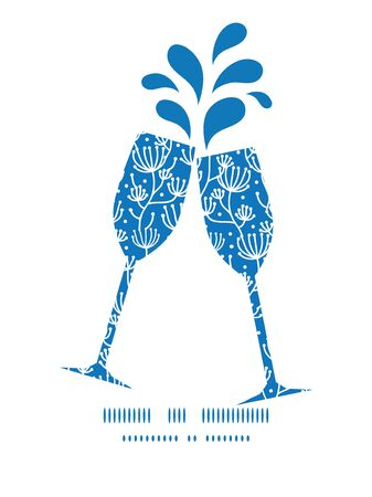 toasting wine: Vector blue white lineart plants toasting wine glasses silhouettes pattern frame