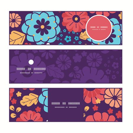 flowers horizontal: Vector colorful bouquet flowers horizontal banners set pattern background Illustration