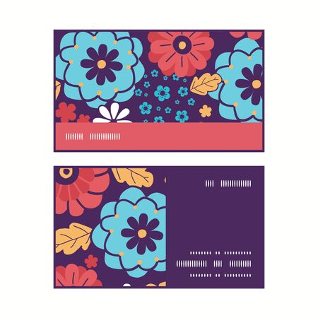 Vector colorful bouquet flowers horizontal stripe frame pattern business cards set Illustration