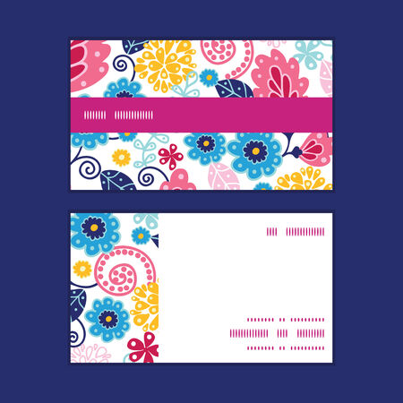 flowers horizontal: Vector fairytale flowers horizontal stripe frame pattern business cards set Illustration