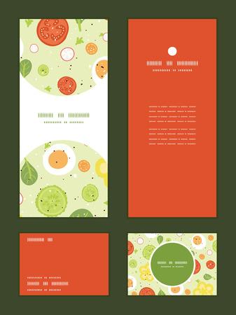 rsvp: Vector fresh salad vertical frame pattern invitation greeting, RSVP and thank you cards set