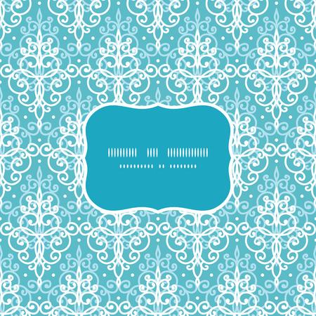 damask frame: Vector light blue swirls damask frame seamless pattern background