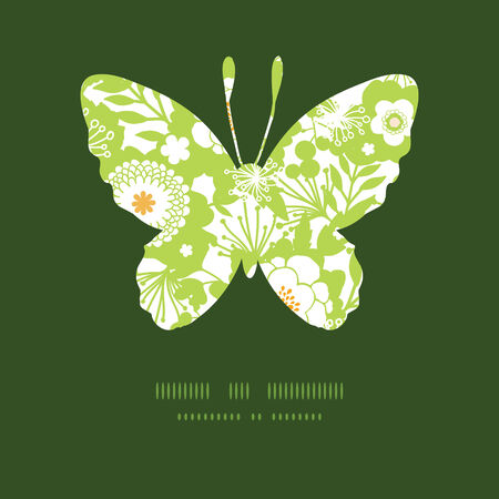 Vector green and golden garden silhouettes butterfly silhouette pattern frame Vector