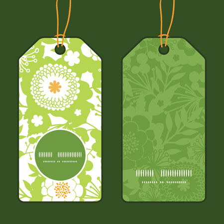vertical garden: Vector green and golden garden silhouettes vertical round frame pattern tags set