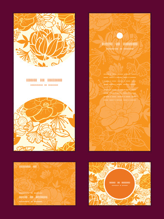 rsvp: Vector golden art flowers vertical frame pattern invitation greeting, RSVP and thank you cards set
