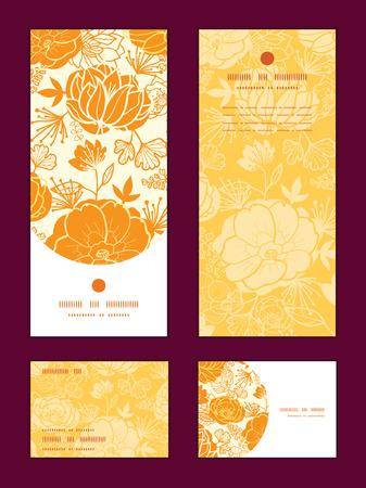 rsvp: Vector golden art flowers vertical frame pattern invitation greeting, RSVP and thank you cards set
