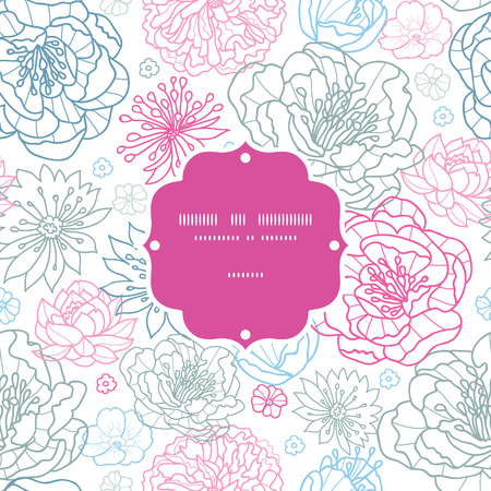 grey pattern: Vector gray and pink lineart florals frame seamless pattern background
