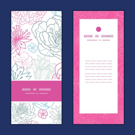Vector gray and pink lineart florals vertical frame pattern invitation greeting cards set Stok Fotoğraf - 35715175