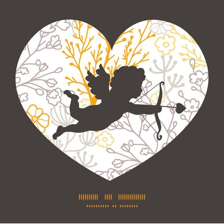 Vector magical floral shooting cupid silhouette frame pattern invitation greeting card template Vector