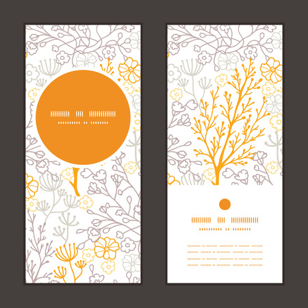 birthday invite: Vector magical floral vertical round frame pattern invitation greeting cards set