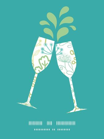 toasting wine: Vector mysterious green garden toasting wine glasses silhouettes pattern frame