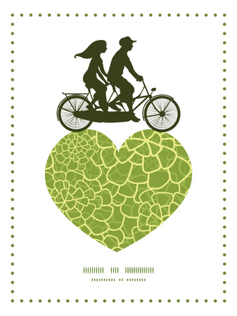 Vector abstract green natural texture couple on tandem bicycle heart silhouette frame pattern greeting card template Illustration