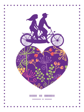 tandem bicycle: Vector colorful garden plants couple on tandem bicycle heart silhouette frame pattern greeting card template Illustration