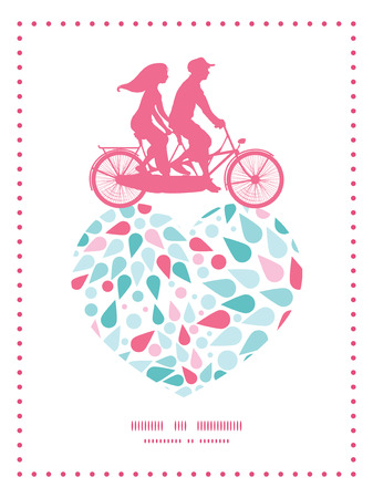 Vector abstract colorful drops couple on tandem bicycle heart silhouette frame pattern greeting card template Illustration