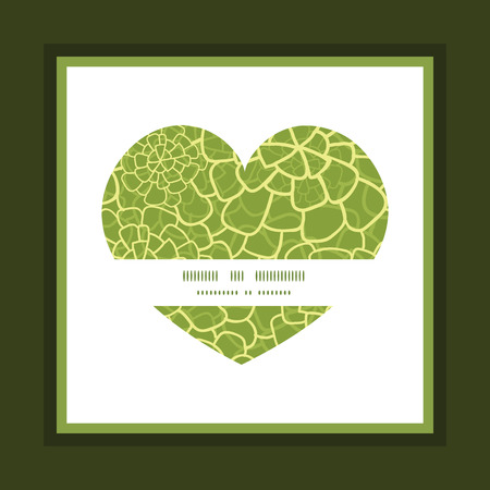 Vector abstract green natural texture heart symbol frame pattern invitation greeting card template Illustration