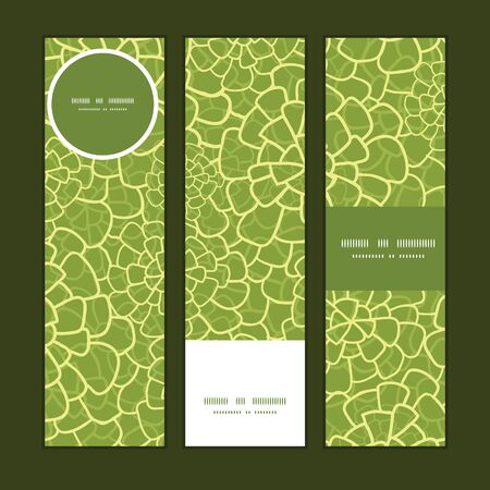 Vector abstract green natural texture vertical banners set pattern background