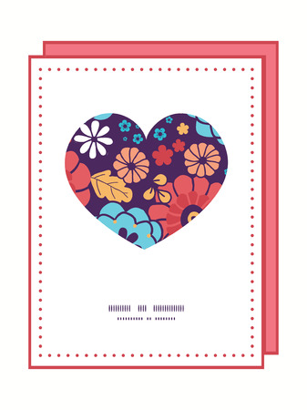 Vector colorful bouquet flowers heart symbol frame pattern invitation greeting card template