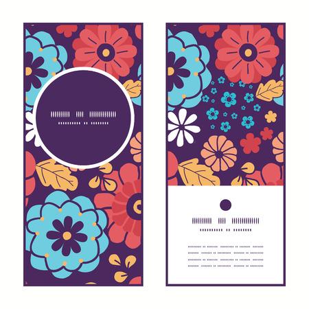 ramo de flores: Vector coloridas flores del ramo patr�n marco redondo tarjetas de felicitaci�n invitaci�n verticales configuran Vectores