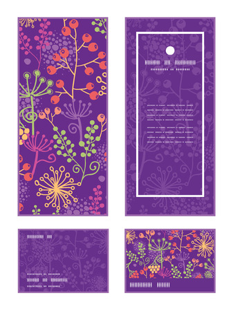 season: Vector colorful garden plants vertical frame pattern invitation greeting, RSVP and thank you cards set