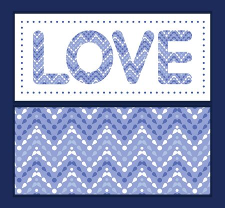 Vector purple drops chevron love text frame pattern invitation greeting card template Illustration