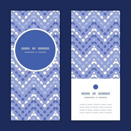 Vector purple drops chevron vertical round frame pattern invitation greeting cards set Vector