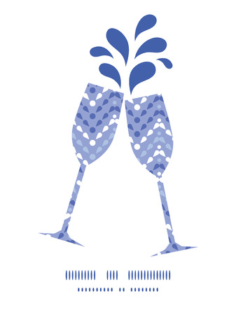 toasting wine: Vector purple drops chevron toasting wine glasses silhouettes pattern frame Illustration