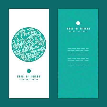 Vector emerald green plants vertical round frame pattern invitation greeting cards set Stok Fotoğraf - 35792034