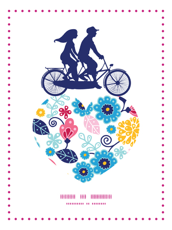 postcard: Vector fairytale flowers couple on tandem bicycle heart silhouette frame pattern greeting card template Illustration