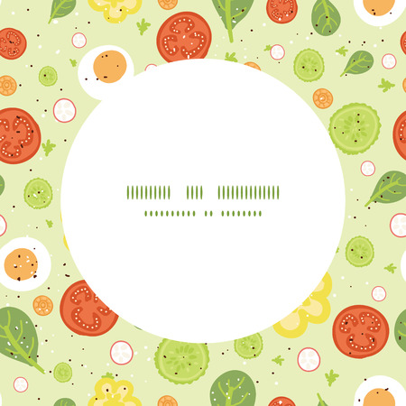 spinach salad: Vector fresh salad frame seamless pattern background