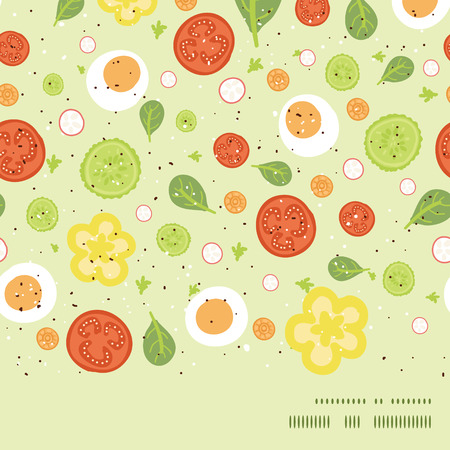 spinach salad: Vector fresh salad horizontal frame seamless pattern background Illustration