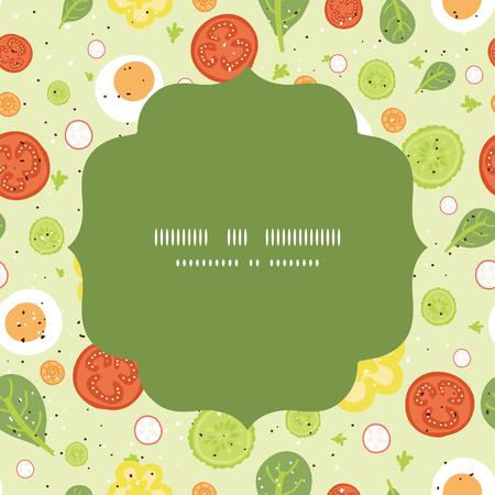 벡터 신선한 샐러드 원 프레임 원활한 패턴 배경 일러스트