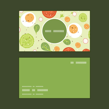 business cards: Vector fresh salad vertical round frame pattern business cards set