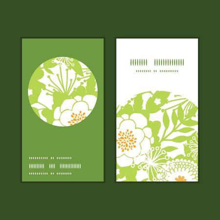 vertical garden: Vector green and golden garden silhouettes vertical round frame pattern business cards set