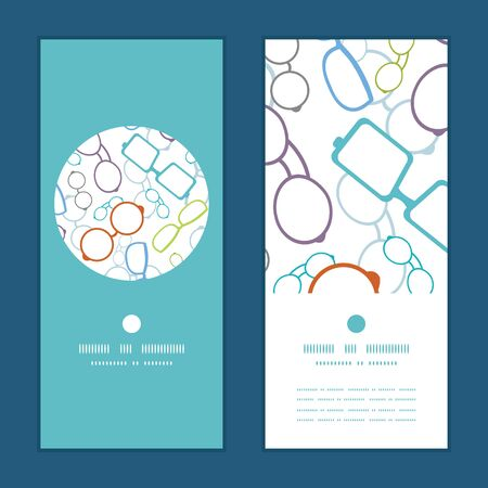 glasses: Vector colorful glasses vertical round frame pattern invitation greeting cards set