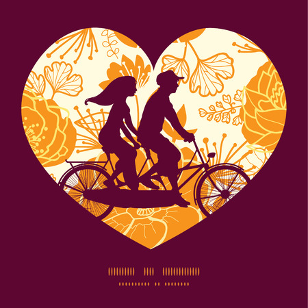 greeting: Vector golden art flowers couple on tandem bicycle heart silhouette frame pattern greeting card template