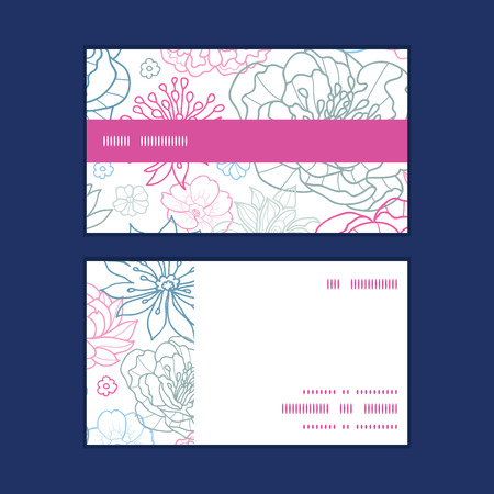 business cards: Vector gray and pink lineart florals horizontal stripe frame pattern business cards set