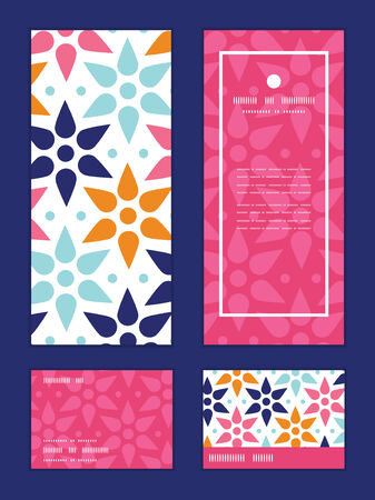 greeting: Vector abstract colorful stars vertical frame pattern invitation greeting, RSVP and thank you cards set Illustration