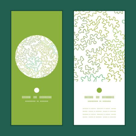 Vector curly doodle shapes vertical round frame pattern invitation greeting cards set Çizim
